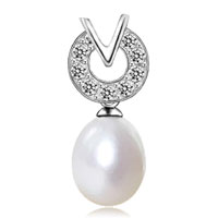 Necklace & Pendants - fashion sterling silver freshwater pearl crystal cz pendant necklace Image.