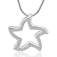 Necklace & Pendants - sterling silver open cz star white clear crystal necklace pendant Image.