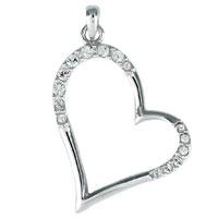 Necklace & Pendants - sideways studded heart pendant necklaces Image.