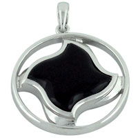 Murano Glass Jewelry - black twisted square symbol pendant necklace Image.