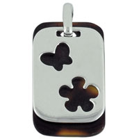 relation - flower and butterfly silhouette pendant necklace Image.