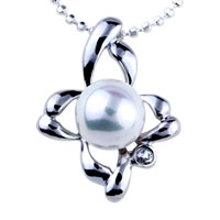 relation - flower pearl pendant necklace Image.