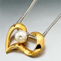 Necklace & Pendants - fresh water pearl golden heart pendant necklace Image.