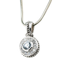 Necklace & Pendants - silver crystal concentric round pendant necklace Image.