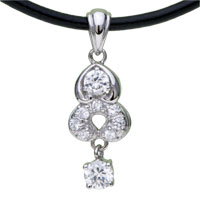 Sterling Silver - 925  sterling silver heart crystal pendant necklace sterling silver pendant Image.