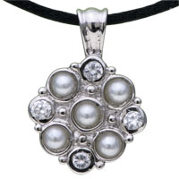 Sterling Silver - 925  sterling silver crystal flower pendant necklace sterling silver pendant Image.