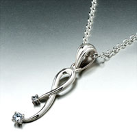 Necklace & Pendants - sterling silver bowknot pale blue crystal pendant necklace gift Image.
