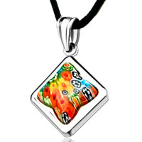 Necklace & Pendants - necklace silver square colorful millefiori murano glass pendant necklace for women Image.