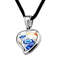 Necklace & Pendants - silver heart colorful millefiori murano glass pendant necklace for women Image.