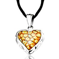 Necklace & Pendants - silver heart yellow millefiori murano glass pendant necklace for women Image.
