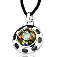 Necklace & Pendants - silver round colorful millefiori murano glass pendant necklace for women Image.