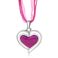 Necklace & Pendants - silver heart white drip fuchsia pendant Image.