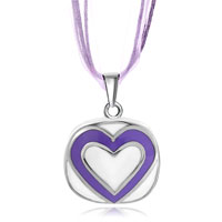 Necklace & Pendants - silver round white drip purple heart pendant earrings Image.