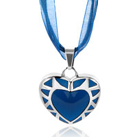 Necklace & Pendants - silver heart blue drip pattern pendant earrings Image.