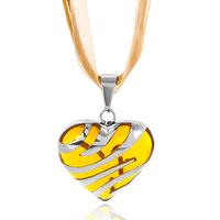Necklace & Pendants - translucent orange murano glass heart silver stripes pendant Image.