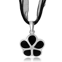Necklace & Pendants - silver flower black drip drop pendant Image.