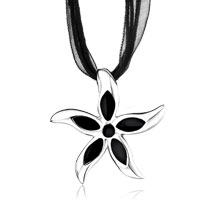 Necklace & Pendants - silver starfish black drip oval pendant Image.
