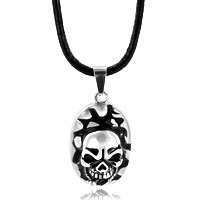 Necklace & Pendants - silver oval halloween skull cigar pendant Image.