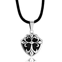 Necklace & Pendants - men' s women' s vintage silver shield fleur de lis pendant necklace Image.