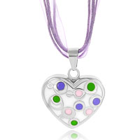 Necklace & Pendants - silver heart white drip colorful dots pendant Image.
