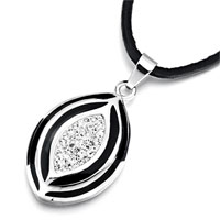 Necklace & Pendants - metal oval black drip clear rhinestone crystal pendant earrings Image.