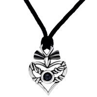 Necklace & Pendants - mothers day gifts heart twined rope black cat eye pendants Image.