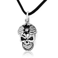 Necklace & Pendants - skull april birthstone clear crystal pendant Image.