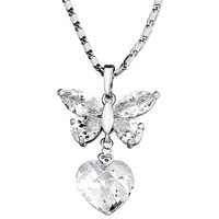 Necklace & Pendants - april birthstone clear crystal butterfly heart pendant Image.