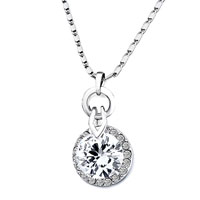 Necklace & Pendants - round detailed crystal april birthstone clear pendant Image.
