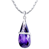 Necklace & Pendants - february birthstone purple crystal drop incomplete oval metal pendant Image.