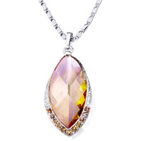 Necklace & Pendants - leaf detailed crystal november birthstone topaz pendant Image.