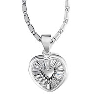 Necklace & Pendants - heart april birthstone clear crystal pendant Image.