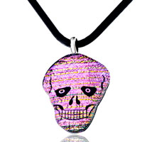 Necklace & Pendants - pink halloween skull murano glass pendant necklace earrings Image.