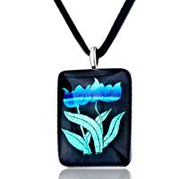 Necklace & Pendants - blue flower square murano glass necklace pendant earrings Image.