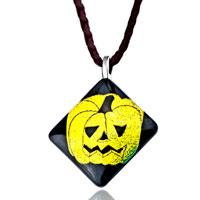 Necklace & Pendants - black murano glass yellow jack o lantern halloween pumpkin pendants earrings Image.