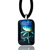 Necklace & Pendants - capri blue rose on love dichroic glass murano pendant necklace Image.