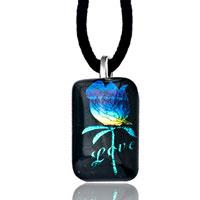 Necklace & Pendants - capri blue rose on love dichroic glass murano pendant necklace Image.