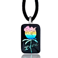 Necklace & Pendants - love pink blue rose square murano glass pendant necklace Image.