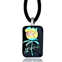 Necklace & Pendants - love yellow blue rose square murano glass pendant necklace earrings Image.