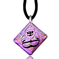 Necklace & Pendants - purple multicolored santa claus murano glass pendant necklace earrings Image.