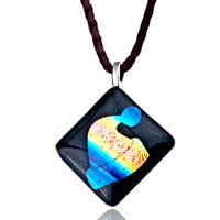 Necklace & Pendants - blue yellow hat square murano glass lampwork pendant necklace earrings Image.