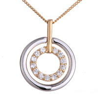 Necklace & Pendants - karma necklaces double circles clear crystal silver pendant Image.