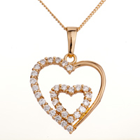 "Necklace & Pendants - 18 k gold apr birthstone clear white crystal double open heart love pendant necklace  18"" Image."