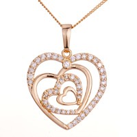 Necklace & Pendants - 18 k gold plated apr birthstone clear white crystal quadruple open heart love pendant necklace Image.