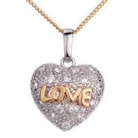 Necklace & Pendants - gloden chain silver heart clear crystal against golden love pendant Image.