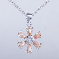Necklace & Pendants - flower swarovski crystal pendant necklace Image.