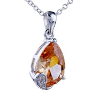 Necklace & Pendants - drop swarovski crystal citrine pendant necklace Image.