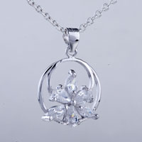 relation - circle flower crystal pendant necklace Image.