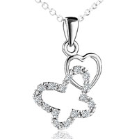 Necklace & Pendants - women' s butterfly heart april birthstone pendant necklace for party Image.