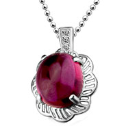 Sterling Silver Jewelry - vintage sterling silver red stone pendant necklace for women h 56 Image.